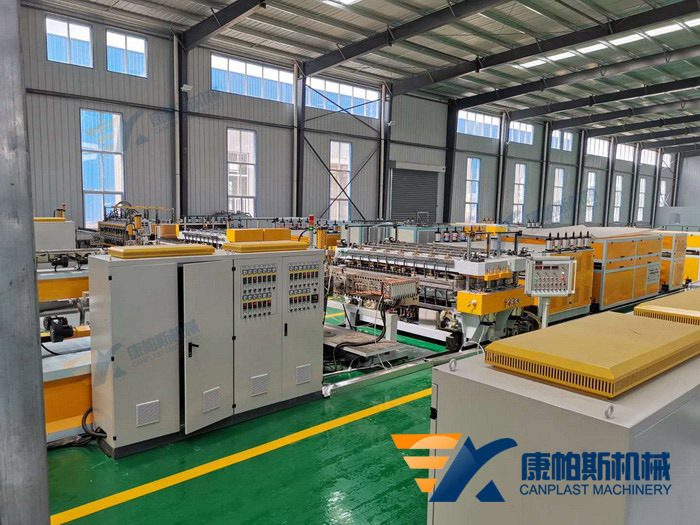 Plastic hollow grid sheet production line